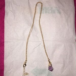 Long necklace with amethyst looking stone